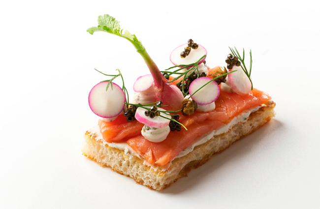 Tartine with salmon and cream cheese