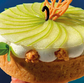 Apple tart with liquid caramel, vanilla and mascarpone cream by Julien Dugourd