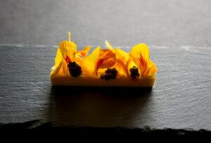 Gold beet panna cotta, bergamot, Osetra caviar, fermented cashew cream, mandarin, nasturtium by Roberto Cortez