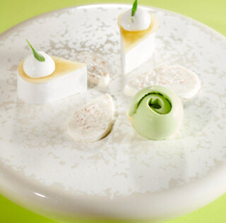 Apple from Montois and coconut plated dessert by Pierre-Jean Quinonero, professional CFD winner